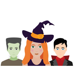 the halloween set of people in costumes flat vector image