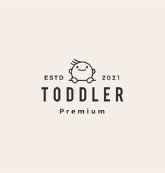 toddler baby outline hipster vintage logo icon vector image