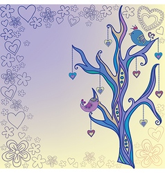 Tree with birds painted by hand vector