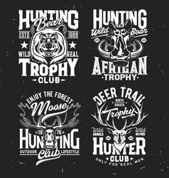 tshirt prints with wild animals for apparel design vector image