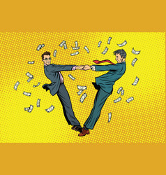 Two businessmen happily dancing in a whirlwind of vector