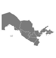 Uzbekistan provinces map grey vector