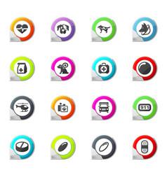 Veterinary clinic icons set vector