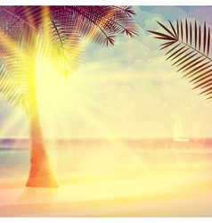Vintage poster of tropical beach vector image