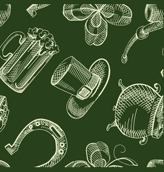 vintage saint patricks day seamless pattern vector image