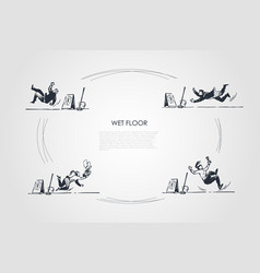 Wet floor - people falling down on wet floor vector