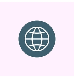 White globe icon on blue circle background vector image