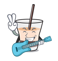 with guitar white russian mascot cartoon vector image