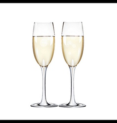 Champagne flutes Two narrow glasses vector image vector image