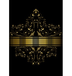 Dotted golden ribbon framed pattern of golden curl vector image vector image