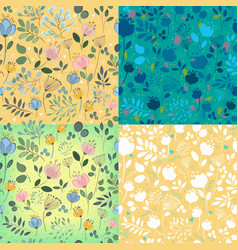 floral decorative seamless patterns vector image vector image