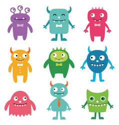 Friendly monsters set vector image vector image