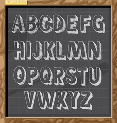 Hand drawn alphabet in white chalk style vector image