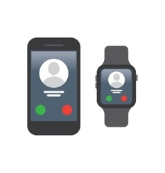 Smartphone connect to Smart watch vector image vector image