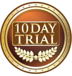 Ten day trial gold icon vector