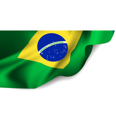 Waving flag of Brazil South America vector image vector image