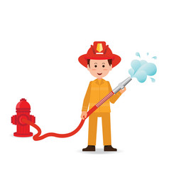 fireman spraying a water hose isolated on white vector image