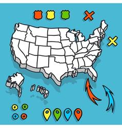 Hand drawn US map whith map pins vector image vector image