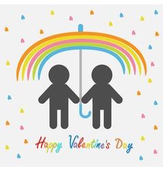 Happy Valentines Day Love card Rainbow umbrella vector image vector image