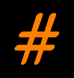hashtag sign orange icon on black vector image vector image