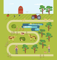 map of the farm vector image