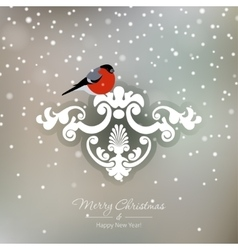 Red bullfinch on a snowy Christmas background vector image vector image