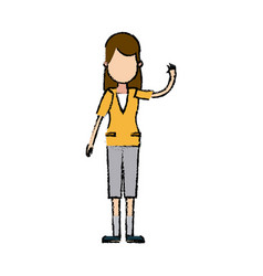 character woman young people waving hand vector image