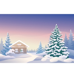 Christmas cabin vector image