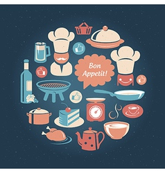 Food and cooking icons round set vector image vector image