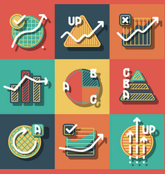 infographic elements and diagrams icons set vector image vector image