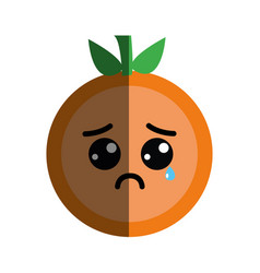 kawaii nice crying orange fruit vector image vector image