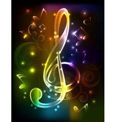 neon treble clef vector image