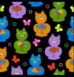 seamless pattern of hand drawn cartoon cats vector image