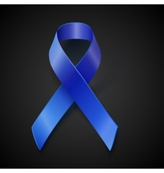 Awareness blue ribbon isolated on black vector image vector image