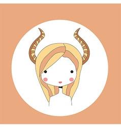 Horoscope Capricorn sign girl head vector image vector image
