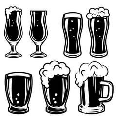 set of beer mugs design elements for logo label vector image vector image