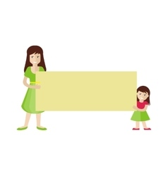 Woman and Girl Holding Blank Message Board vector image vector image
