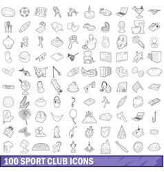 100 sport club icons set outline style vector image