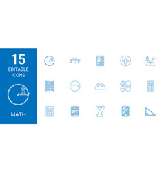 15 math icons vector image