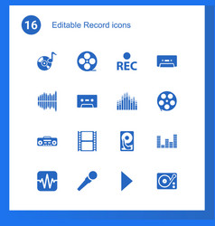 16 record icons vector image