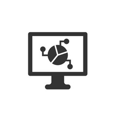 analytic monitor icon in flat style diagram on vector image