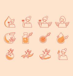 Angle icon set with orange vitamin c vector