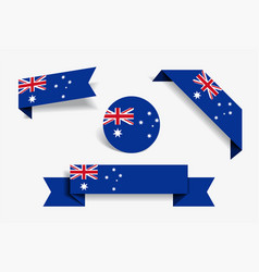 Australian flag stickers and labels vector