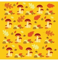 Autumn forest mushrooms and leaves pattern vector