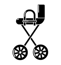 Baby carriage yellow icon simple black style vector