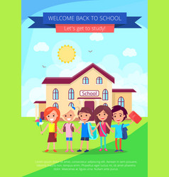 Back to school poster with small students vector