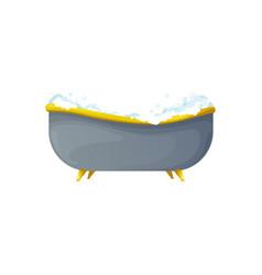 Bathtub bathroom interior object soapy bubbles vector