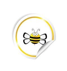 bee with honey sticker yellow vector image