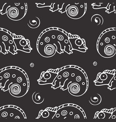 Black and white seamless pattern with chameleon vector