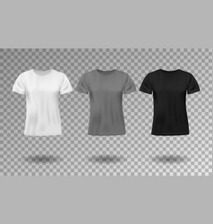 black white and gray realistic male t-shirt with vector image